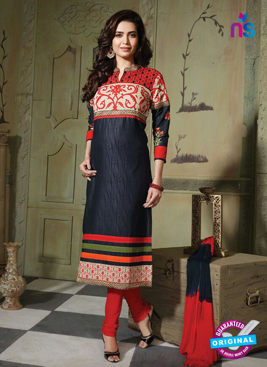 NS10750 Navy Blue and Red Pure Cotton Daily Wear Long Straight Suit
