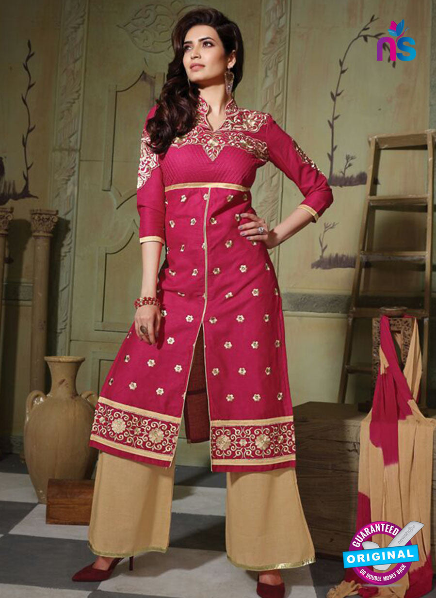 NS10751 Dark Pink and Sany Brown Pure Cotton Daily Wear Long Straight Suit