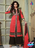 NS10752 Red and Black Pure Cotton Daily Wear Long Straight Suit