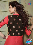 NS10752 Red and Black Pure Cotton Daily Wear Long Straight Suit Online