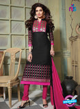 NS10754 Black and Magenta Pure Cotton Daily Wear Long Straight Suit
