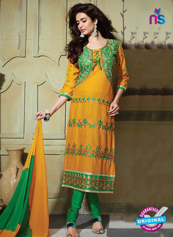 NS10755 Green and Turmeric Yellow Pure Cotton Daily Wear Long Straight Suit
