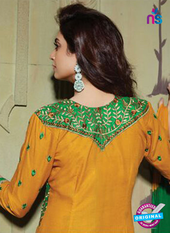 NS10755 Green and Turmeric Yellow Pure Cotton Daily Wear Long Straight Suit Online