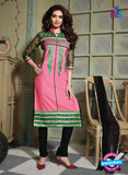 NS10753 Pink and Black Pure Cotton Daily Wear Long Straight Suit