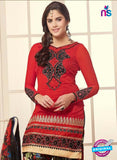 NS10759  Red and Multicolor Party Wear Chanderi Cotton Patiyala Suit
