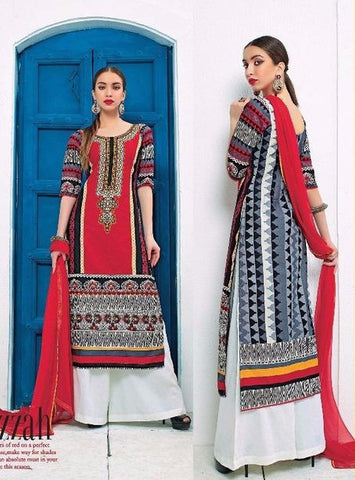 Jay Vijay 1425 Red Color Cotton Lawn Designer Suit