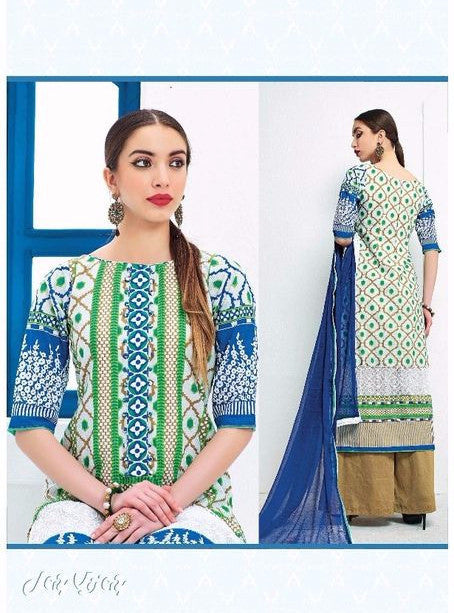 Jay Vijay 1429 Green Color Cotton Designer Suit