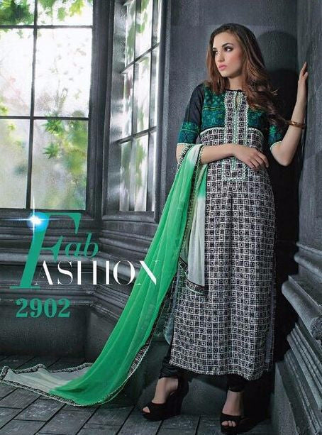Jay Vijay 2902 Black & Green Color Cotton Designer Suit with Dupatta