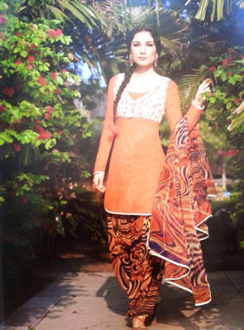 Jinaam 06 Orange Color Patiala Style Cotton Designer Suit