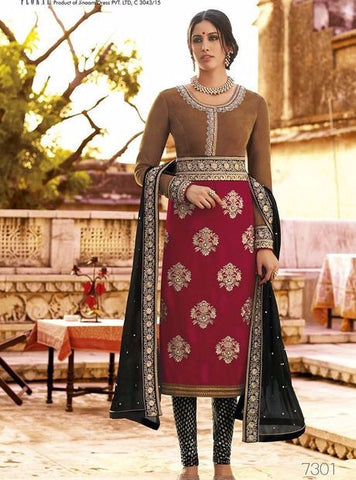 Jinaam 7301 Multi Color Velvet Designer Suit