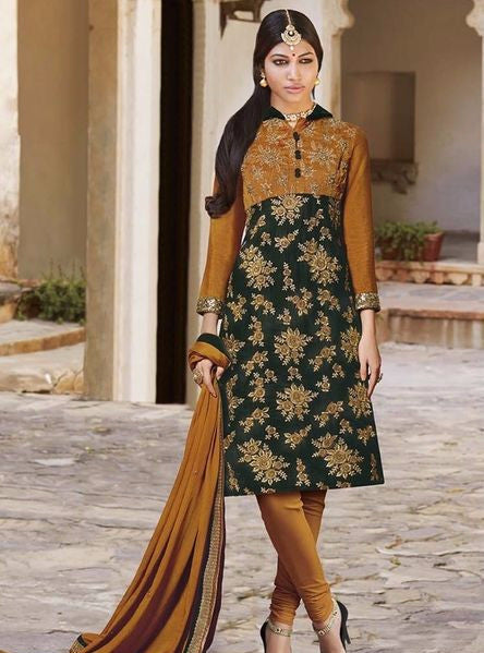 Jinaam 7315 Yellow & Green Color Micro Velve Designer Suit