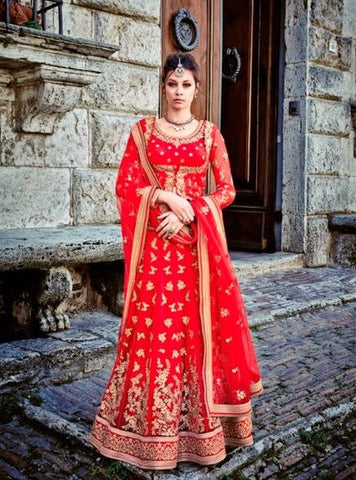 Jinaam 7328A Red Color Designer Net Lehenga Choli