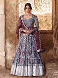 Jinaam 7330 Grey & Maroon Color Net Designer Anarkali Suit