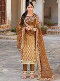 Jinaam 7331 Beige & Brown Color Net Long Designer Suit