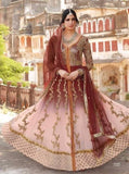 Jinaam 7333 Pink & Maroon Color Net Designer Anarkali Suit