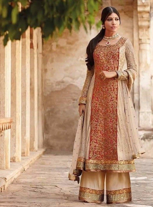 Jinaam 7334 Red & Beige Color Net Long Designer Suit