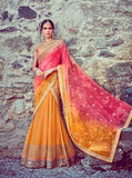 Jinaam 7338 Pink & Yellow Color Designer Georgette Lehenga Choli