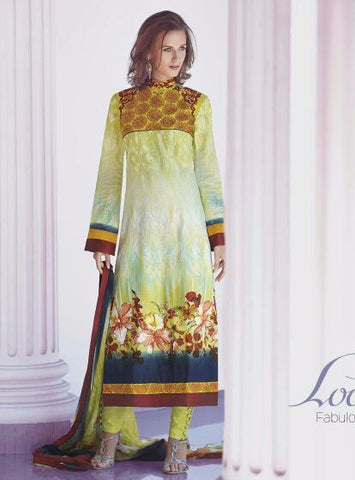 Jinaam 8349A Yellow Color Lawn Cotton Long Designer Suit