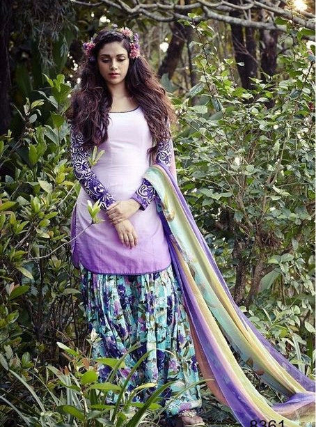 Jinaam 8361 Purple Color Punjabi Style Cotton Designer Suit