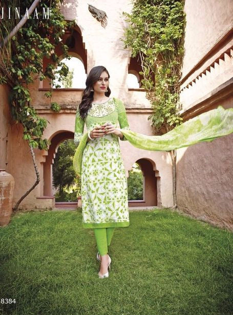 Jinaam 8384 Green Color Designer Cotton Suit Dupatta with Plazo
