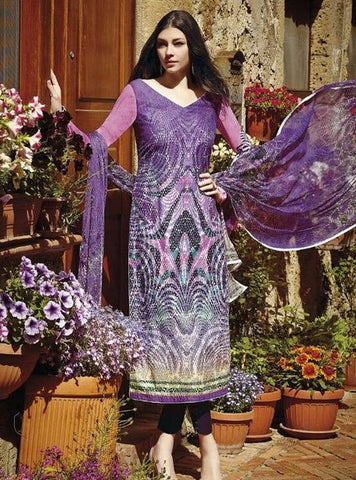 Jinaam 8411 Purple Color Glazed Lawn Cotton Designer Suit