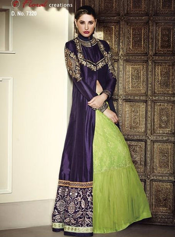 Jinaam Floral 7320 Green & Puple Color BhagalPuri Anarkali Suit