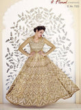 Jinaam Floral 7323 Beige Color Net Anarkali Suit