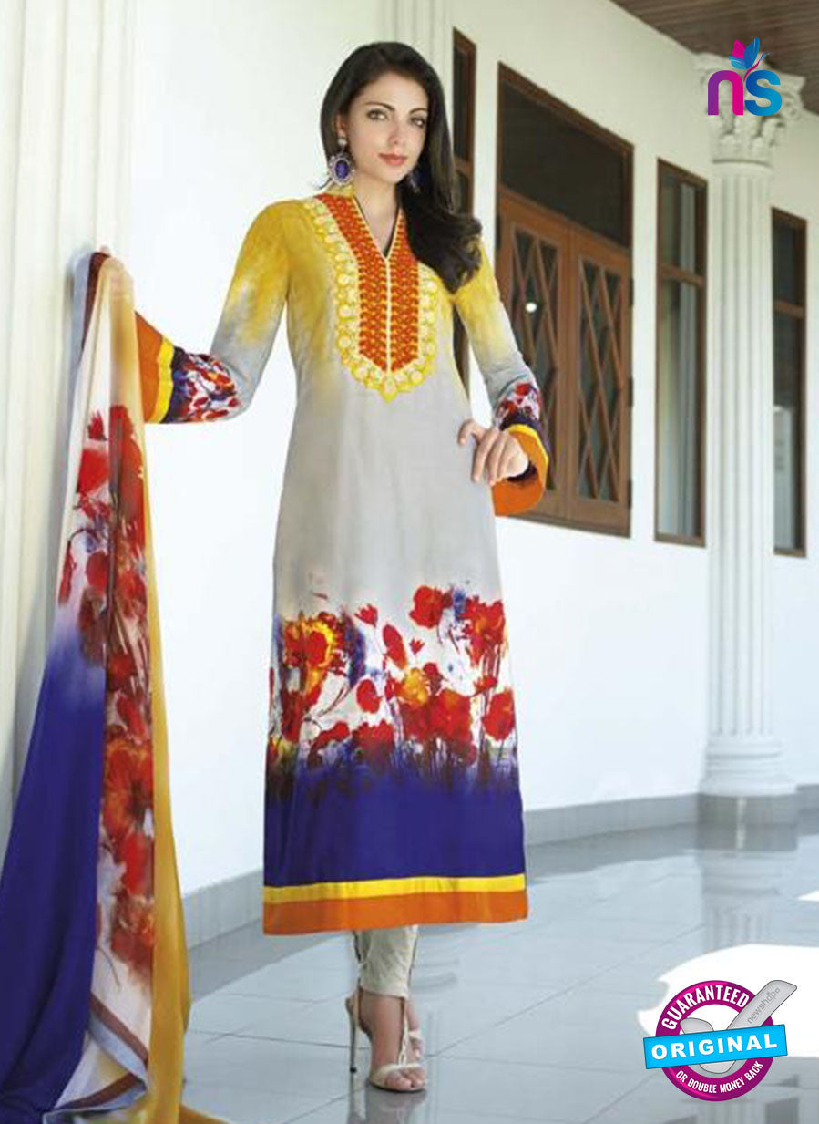 NS10814 B Yellow and Multicolor Pakistani Designer Suits