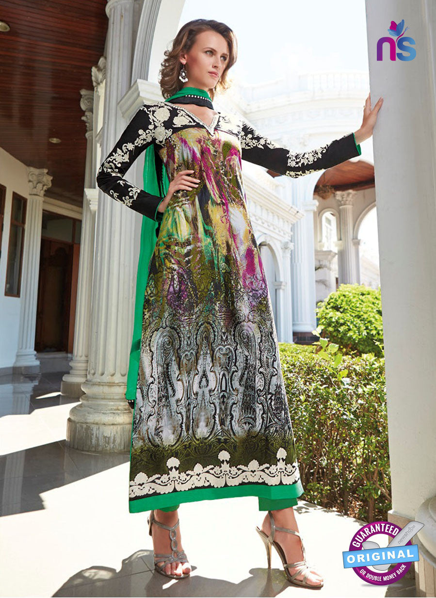 NS10810 B Black and Green Pakistani Suit