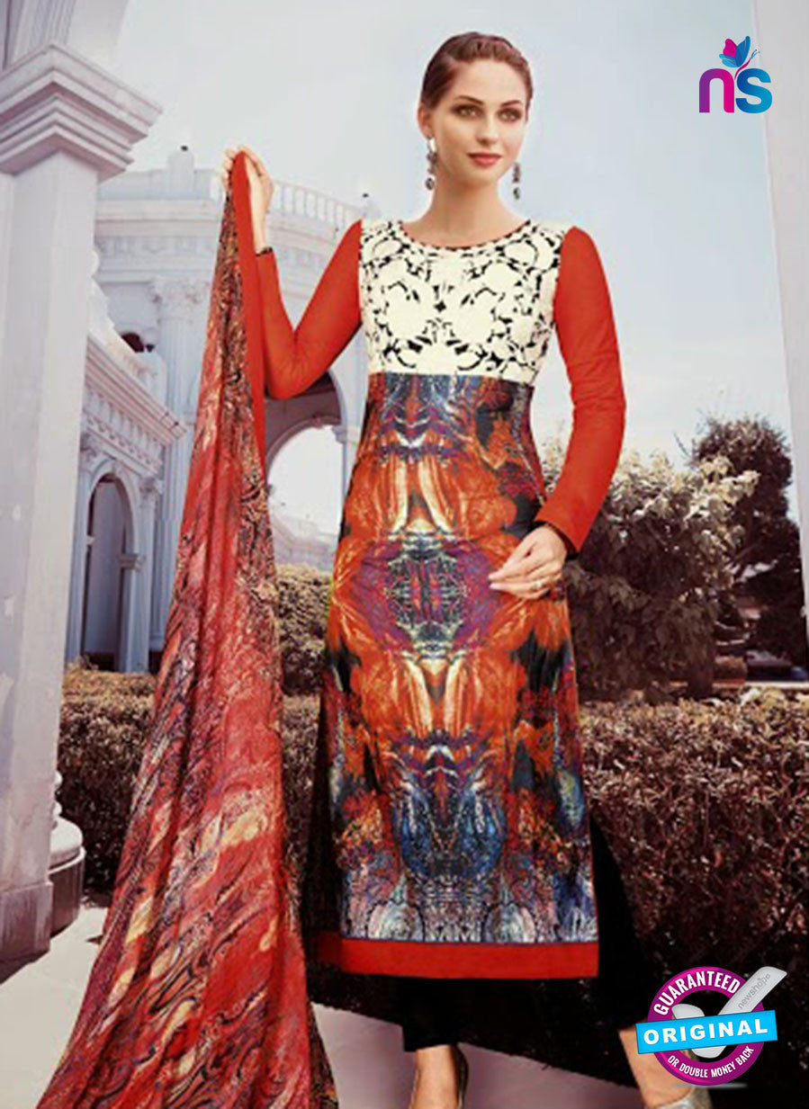 NS10809 B Red and Black Designer Pakistani Suit