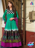 NS10812 A Sea Green and Multicolor Party Wear Cotton Satin Designer Anarkali Suit