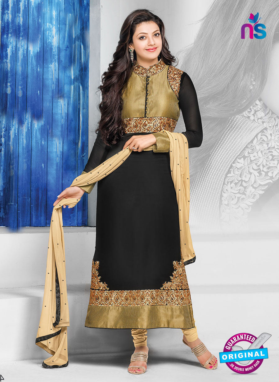 NS10819 Black and Golden Straight Suit