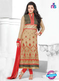 NS10823 Black and Saddle Brown Georgette Straight Suit