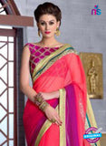 NS10833 Salmon Red and Purple Wedding Wear Georgette Saree