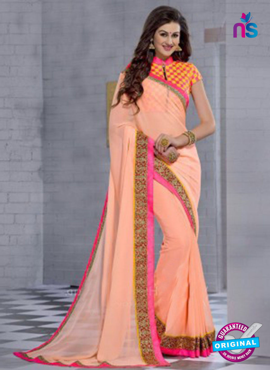 NS10826 Light Orange and Deep Pink Wedding Wear Georgette Saree