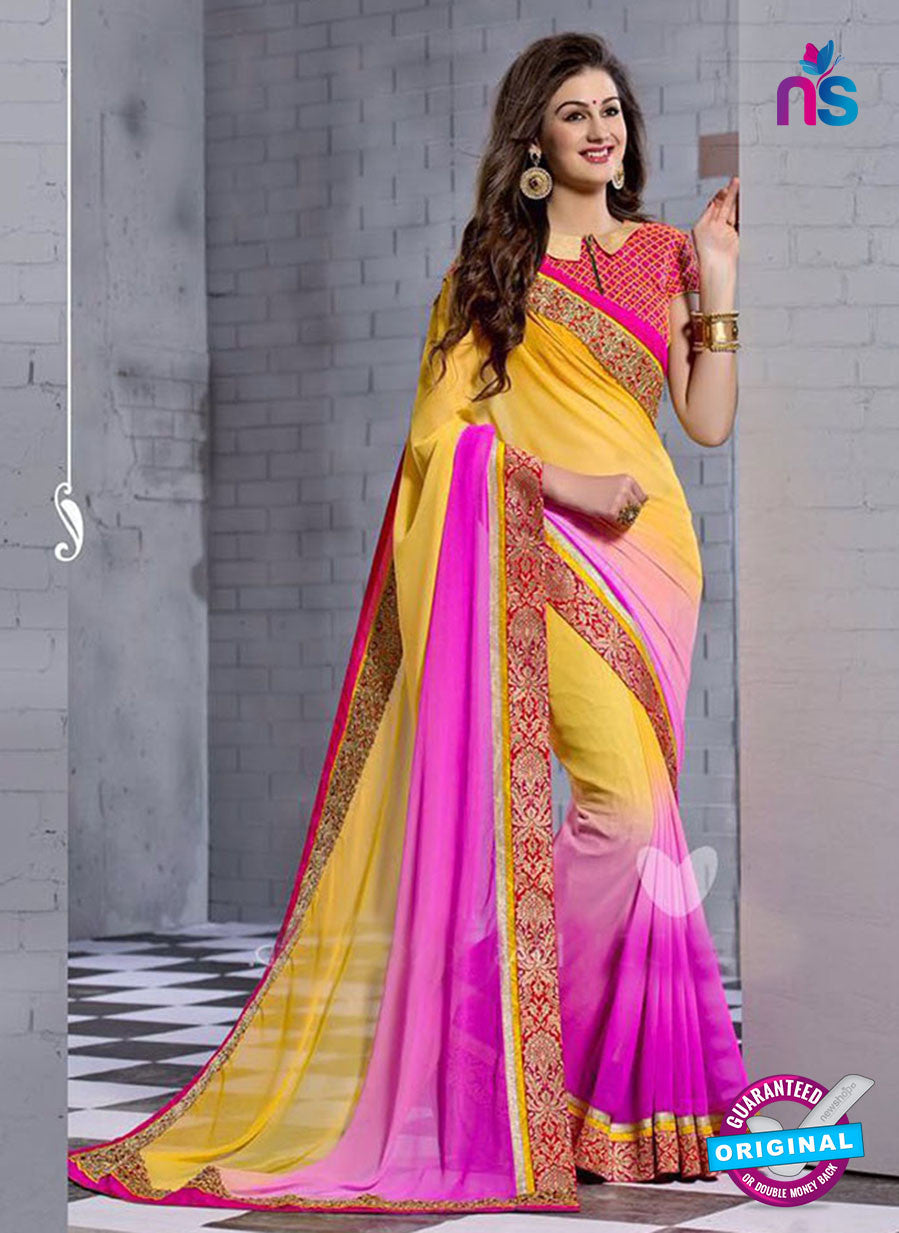 NS10827 Yellow and Dark Magenta Wedding Wear Georgette Saree