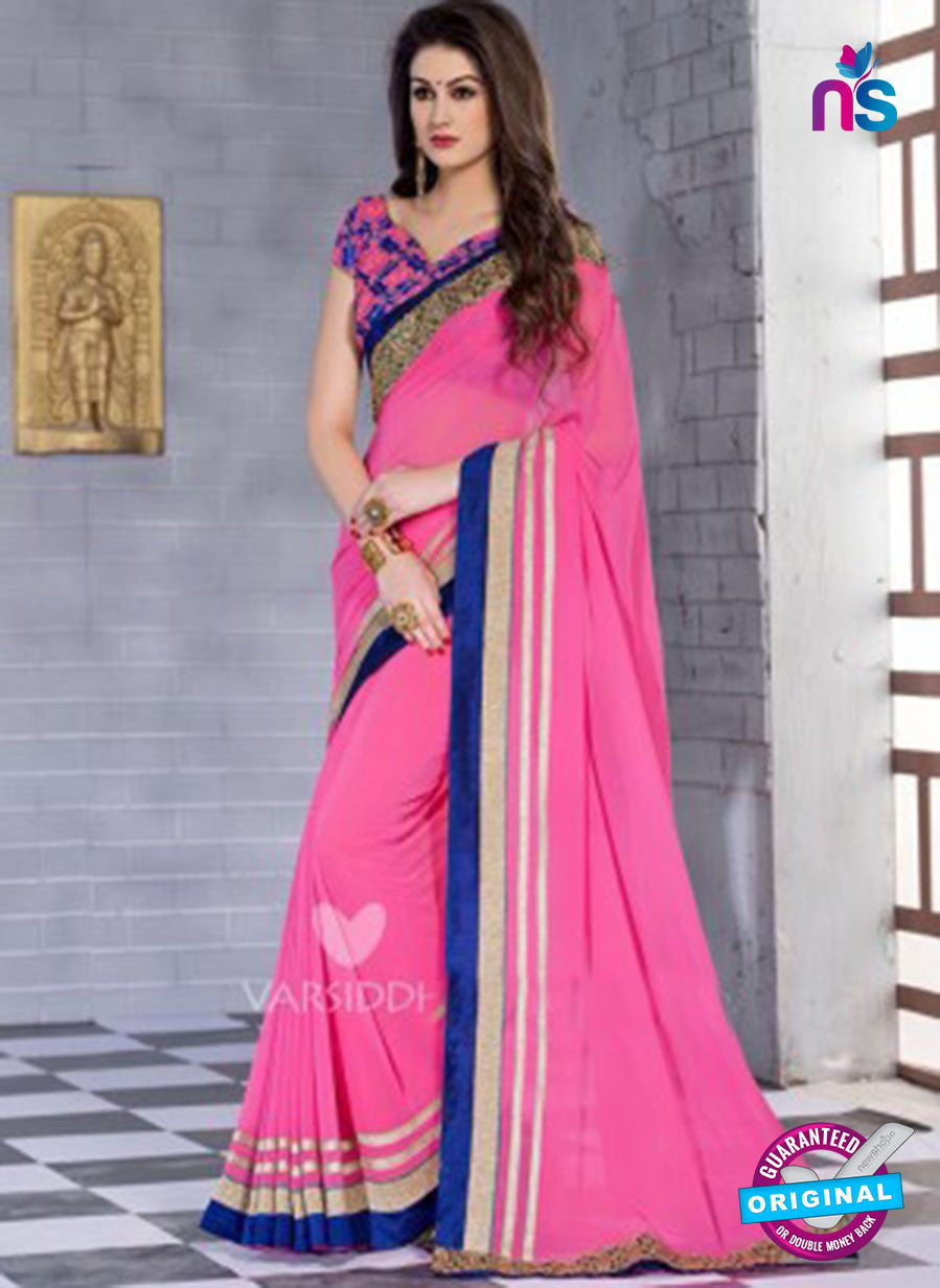 NS10828 Pink and Navy Blue Wedding Wear Georgette Saree