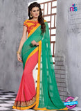 NS10830 Sea Green and Carrot Red Wedding Wear Georgette Saree