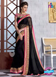 NS10832 Black and Deep Pink Wedding Wear Georgette Saree