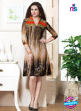 NS10834 Red and Brown Faux Georgette Party Wear Kurti