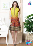 NS10836 Yellow and Brown Faux Georgette Party Wear Kurti