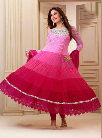 NS10844 03  Pink Color Georgette Designer Anarkali Suit