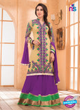 NS10845 Beige and Purple Georgette Gawn
