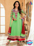 NS10846 Light Green and Red Georgette Anarkali Suit