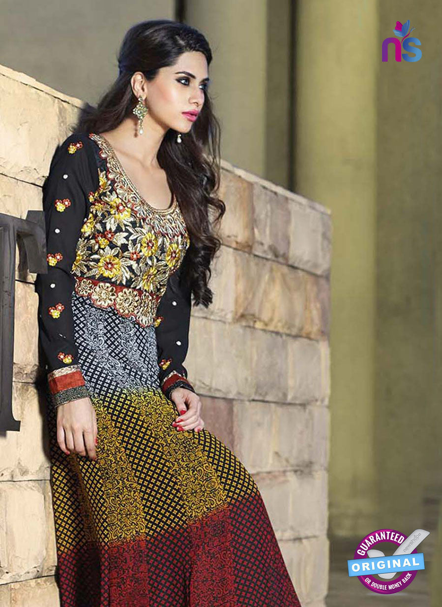 NS10885 A Black, Red and Yellow Georgette Anarkali Suit