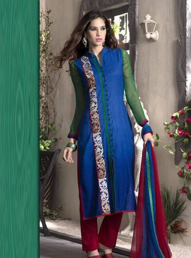 NS10923 Blue Color Pakistani Style Cotton Designer Suit