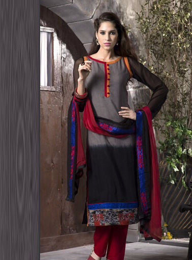 NS10924 Grey Color Pakistani Style Cotton Designer Suit