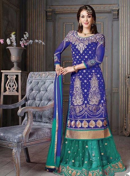 NS10927  Blue Color Crape Silk Designer Anarkali Suit