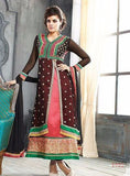 NS10930  Brown Color Georgette Long Designer Suit