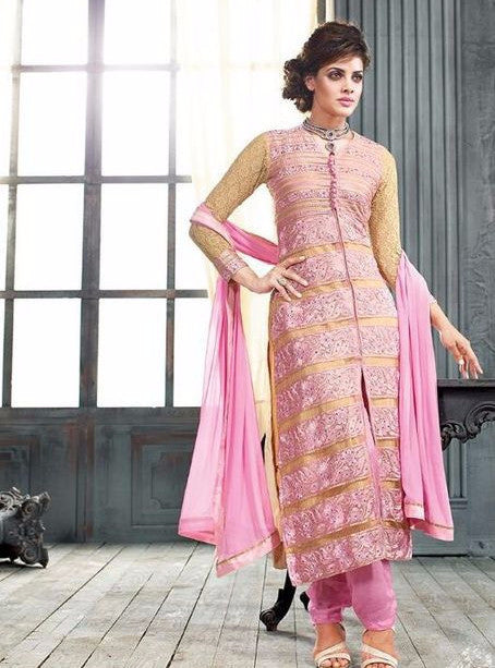 NS10931  Pink Color Georgette Long Designer Suit